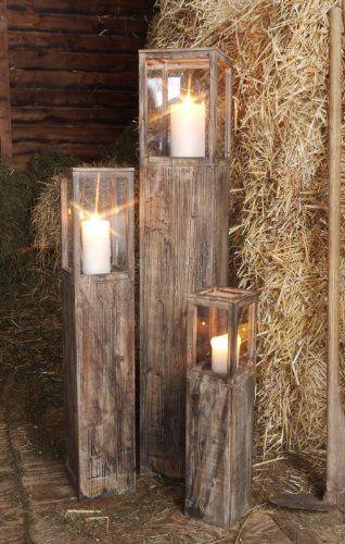Windlichtset, Holzlaterne, braun, Laterne 3-er Set: Amazon.de: Garten