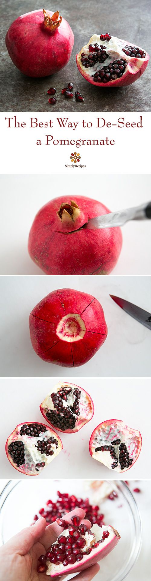 We grow pomegranates, and this is the best way we've found to cut and de-seed them, quickly and easily, with minimal mess, and no cut or bruised arils. On SimplyRecipes.com #HowTo