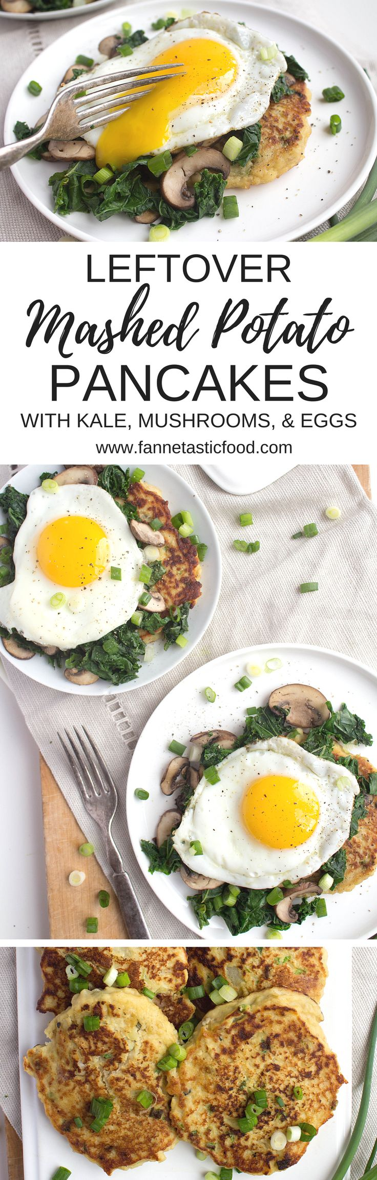 Wondering what to do with leftover mashed potatoes? Make these leftover mashed potato pancakes! They're AMAZING topped with kale, mushrooms, and a fried egg - the perfect post-holiday breakfast!