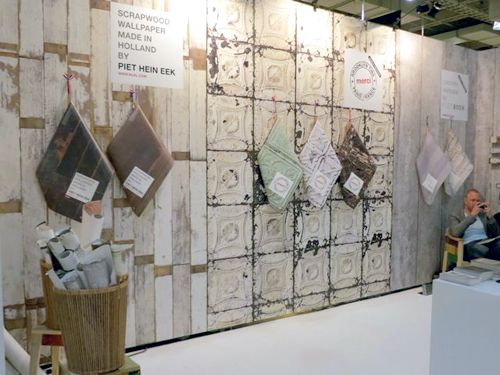NLXL   LOVE THIS!!!!!!!!!!!!!!!!!!!!!!!!!!!!  Dutch wallpaper company NLXL is recycling common building materials to create unusual wallcoverings. They started with designer Piet Hein Eek's Scrapwood and Brooklyn Tins. Their latest, Piet Boon's Concrete Wallpaper, made its debut at ICFF.