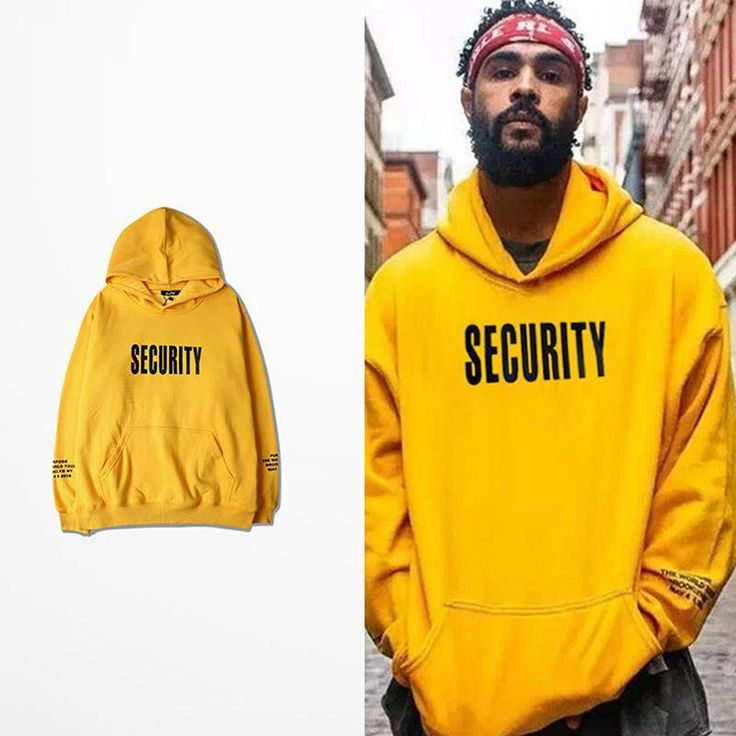 2017 Men's Sweatshirt Pullover Casual Hip Hop Men Loose Solid Letter Yellow Hoodies with Hat Pocket Male Vogue Hooded Tops