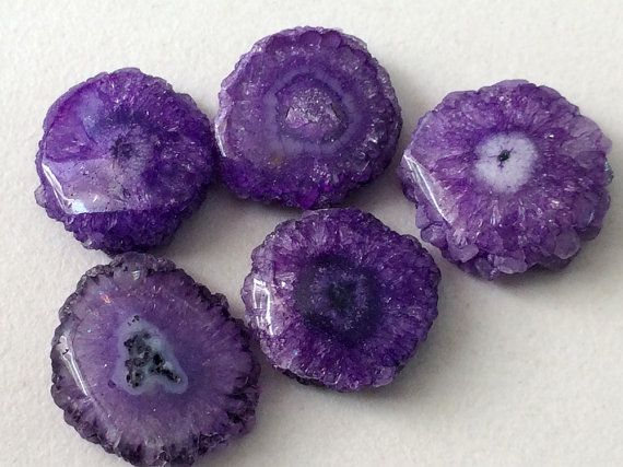 5 Pcs Purple Solar Quartz Stalactite Slice Purple by gemsforjewels