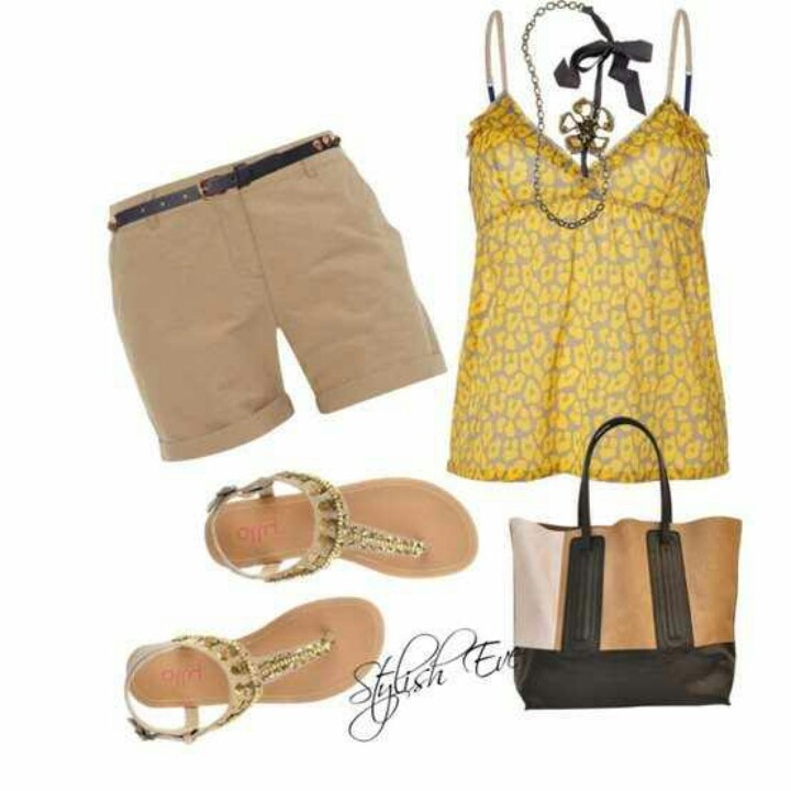 Casusl brown and yellow shorts outfit