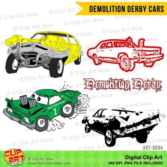 Demolition Derby Cars Digital Clip Art Etsy Demolition Derby Cars Demolition Derby Derby Cars