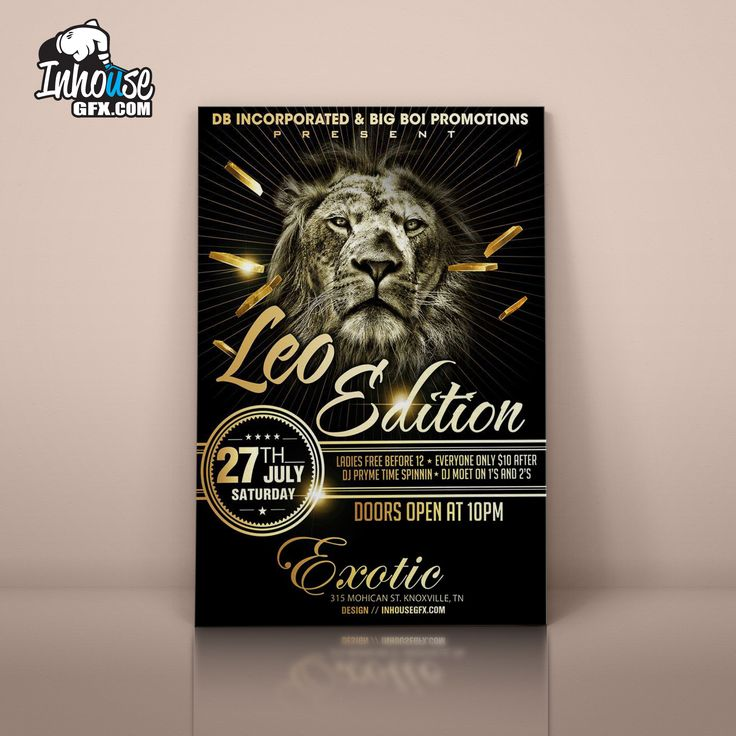 Social event flyer advertisement design for Exotic Night Clubs Leo Edition event  InHouse