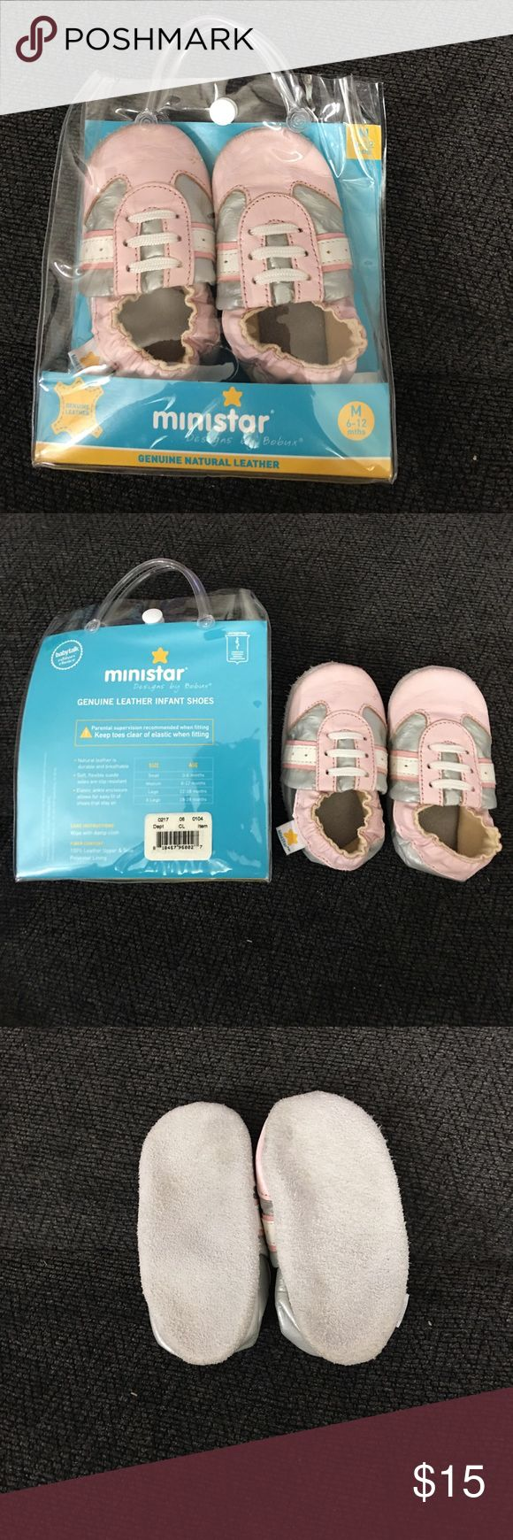 Leather Crib Shoes Brand new never worn! Very cute! ministar Shoes Baby & Walker