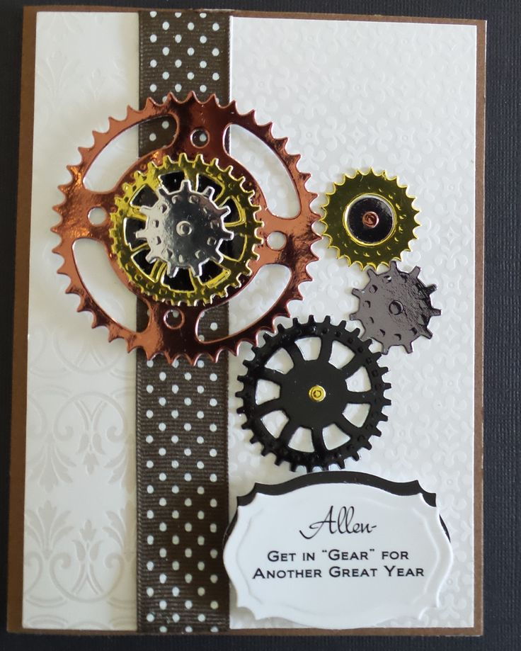 Used Sprightly Sprockets Spellbinders to make this masculine card