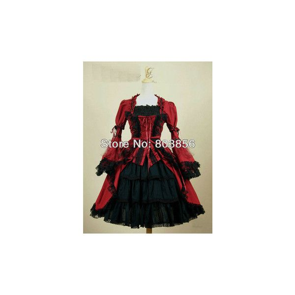 Red and Black Victorian Knee Lenght Gown ❤ liked on Polyvore featuring dresses, gowns, lolita, victorian evening dress, victorian ball gowns, victorian evening gown, red and black victorian dress and red and black ball gown