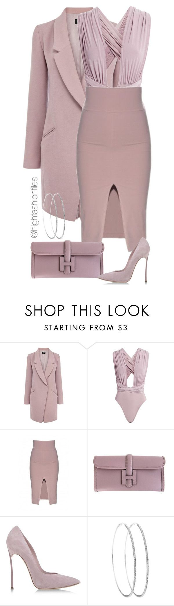 """Suave Muave"" by highfashionfiles ❤ liked on Polyvore featuring Oasis, Hermès and Casadei"