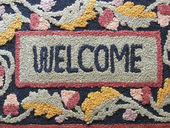 Vintage Hooked Rug  WELCOME Door Mat  Knock by TheRedBirdcage