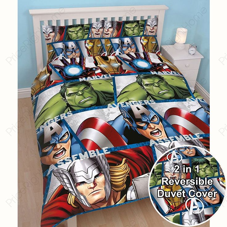 Marvel Avengers Shield Double/US Full Duvet Cover Set + Matching 72'(183cm) Curtains //Price: $35.27 & FREE Shipping //     #hashtag3