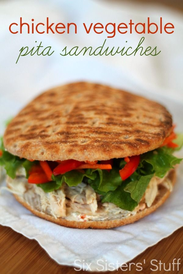 Chicken Vegetable Pita Sandwiches from SixSistersStuff.com.  A delicious, healthy meal you can prepare in a matter of minutes! #sixsistersstuff