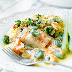 Filety z kurczaka w kremowym sosie z bobem, marchewką i koperkiem | Kwestia Smaku