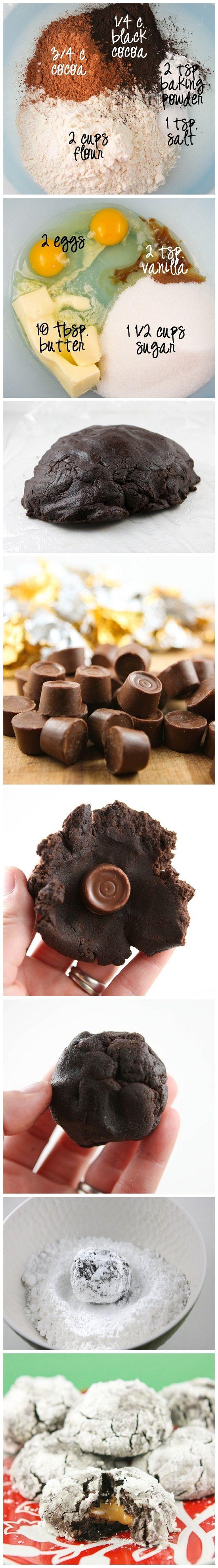 Chocolate Crinkle Rolo Cookies