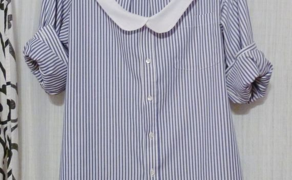 Thrifted Mens Shirt With Diy Peter Pan Collar