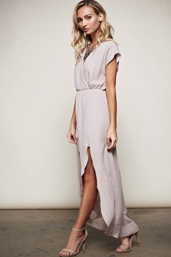 In Paris Drape Maxi Dress - Silver - ShopLuckyDuck  - 1