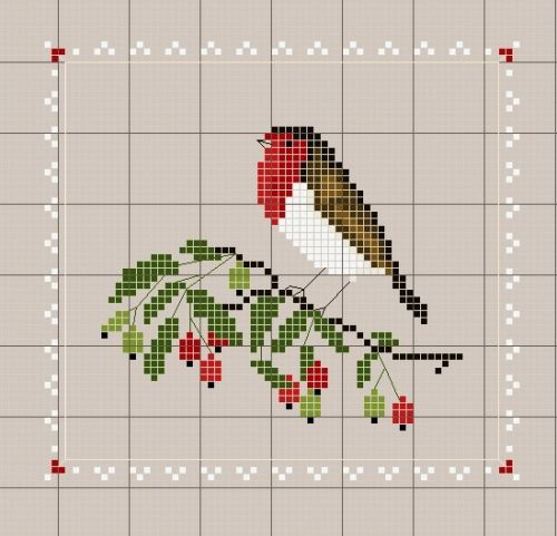 robin on a branch - cross stitch