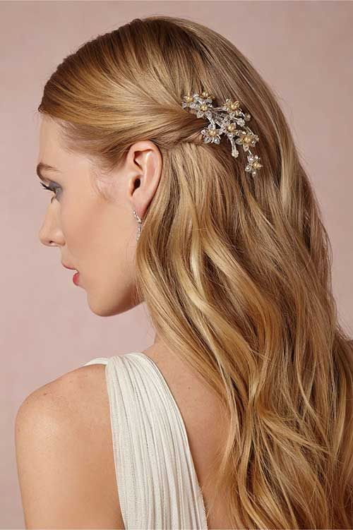 Straight Wedding Hair with Comb