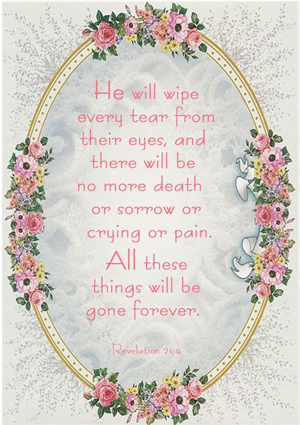 Revelation 21:4 - He will wipe every tear from their eyes...no more death or sorrow or crying or pain.