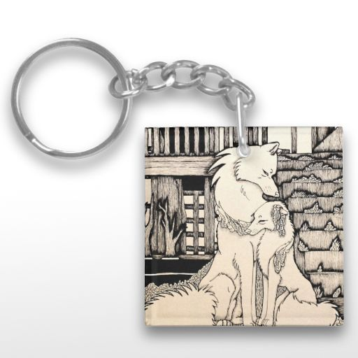 """Under the Bridge"" Cute wolf couple Keychain"