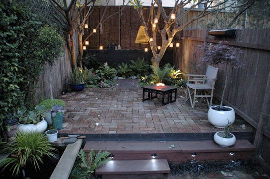 small courtyard garden    cozy - something like this in our front yard under the big oak where grass doesn't grow?
