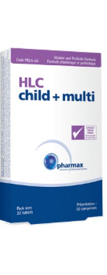 HLC Child + Multi by Pharmax HLC Child + Multi probiotic formula provides two strains of Lactobacillus acidophilus, Bifidobacterium bifidum and Bifidobacterium animalis subsp. lactis, essential to the maintenance of the child's healthy gut flora. HLC Child + Multi provides an easy and enjoyable way for children to obtain daily multivitamins to support overall health