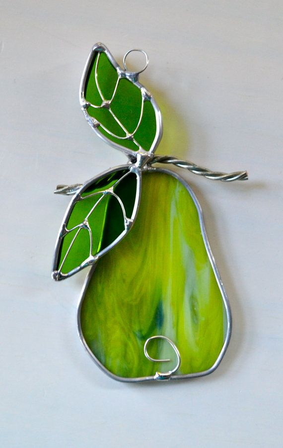 Perfect Pear Stained Glass Suncatcher by dortdesigns on Etsy, $12.75