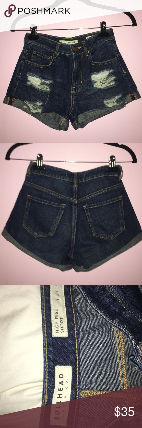 Bullhead Girlfriend Highrise denim shorts BARELY WORN!! Bullhead Black, Girlfriend shorts, dark wash denim, holes on the front of shorts. Cuffed, and high rise. Size 23 Bullhead Shorts Jean Shorts
