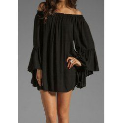 Wholesale Sexy Bateau Neck Ruffled Over Hip Long Sleeves Women's Dress Only $6.02 Drop Shipping | TrendsGal.com