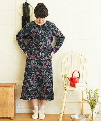 【 予約販売 】○ デニム ゴブラン織り はな JQ 台形 スカート