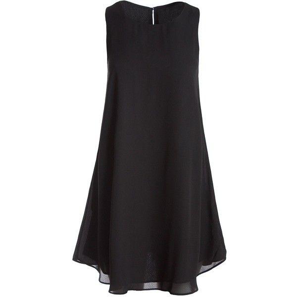 Sans Souci Black sleeveless chiffon shift dress ($29) ❤ liked on Polyvore featuring dresses, black, sans souci, sleeveless chiffon dress, key hole dress, sleeveless shift dress and no sleeve dress