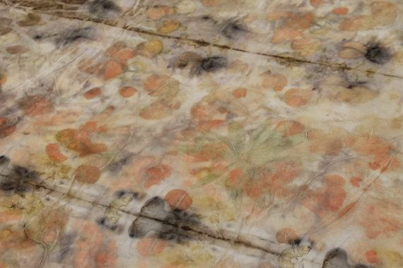 Silk habotai.Large piece.Eco print.Coral green by Silkcraft, $120.00