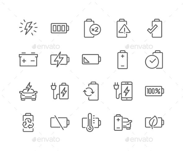 Line Battery Icons. Download here: https://graphicriver.net/item/line-battery-icons/17256214?ref=ksioks