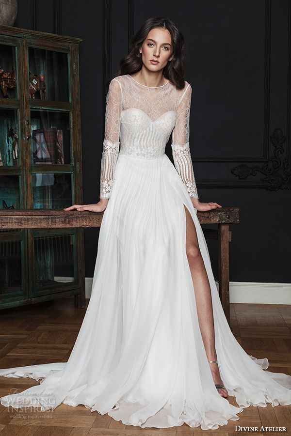 divine atelier 2016 bridal gowns illusion long sleeves sheer bateau sweetheart bustier neckline lace bodice sexy a line wedding dress with split v back sweep train (noel) mv