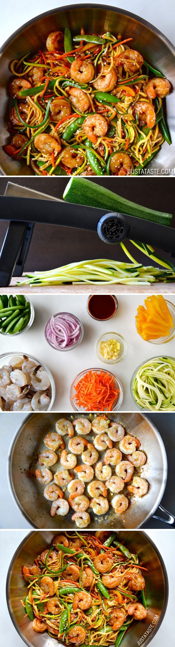 Asian Zucchini Noodle Stir-Fry with Shrimp #recipe from justataste.com