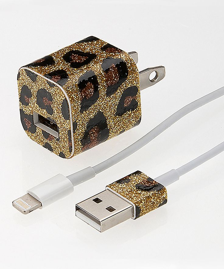 Look at this PhunkeeTree Gold Leopard Glitter Charger for iPhone 5 & 6 on #zulily today!