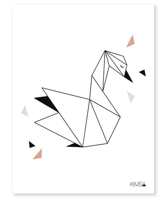 Affiche enfant géométrique cygne