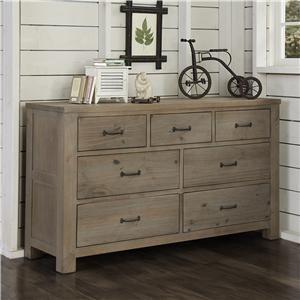 Highlands Transitional 7 Drawer Dresser with Driftwood Finish and Dark Metal Drawer Pulls by NE Kids at Wayside Furniture