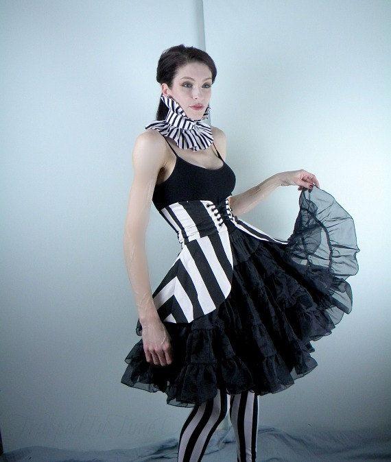 Peplum, Peplum in Black and White Stripes, Cincher Skirt--Waist 26--29 inches-- via Etsy