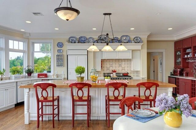 Red bar stools and red kitchen chairs  For the Home  Pinterest