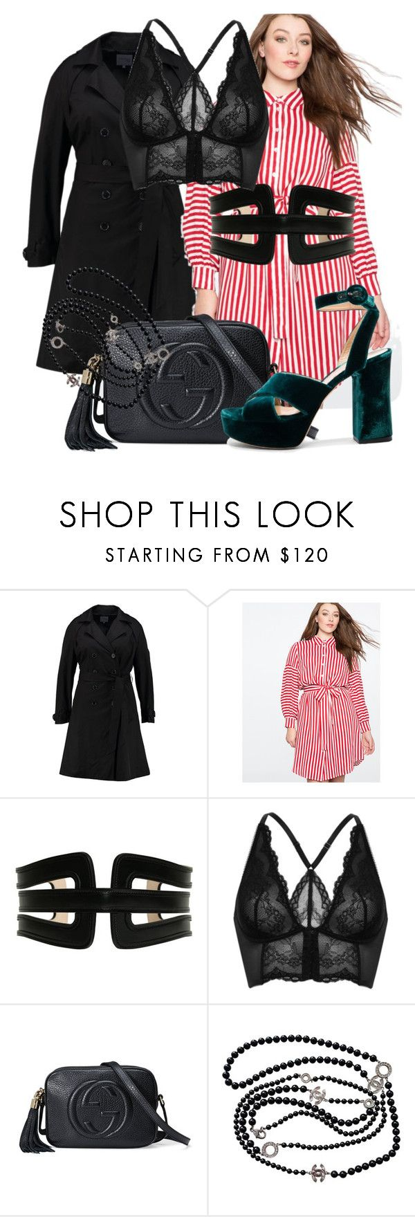 """""""open the blouse"""" by honeysuckelle ❤ liked on Polyvore featuring Anna Field, Balmain, Gossard, Gucci, Chanel, Gianvito Rossi, contestentry and nyfwstreetstyle"""