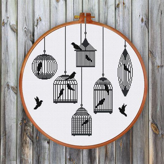 Silhouette de Cages doiseaux point de croix Oiseau par ThuHaDesign