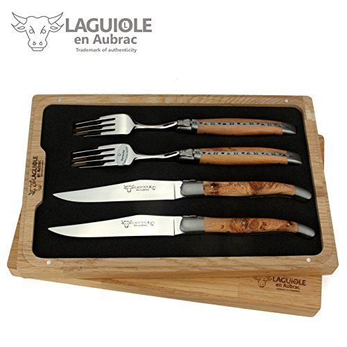Set of two genuine Laguiole steak knives and two forks. Finest traditional handcraft made in France by Laguiole en Aubrac. Delivered with a certificate of authenticity. Forge; Laguiole en Aubrac, France – Item Code: CCF99GEISet of two steak knives and two forks – Handles juniper... see more details at https://bestselleroutlets.com/home-kitchen/kitchen-dining/cutlery-knife-accessories/knife-sets/product-review-for-laguiole-en-aubrac-set-of-two-handmade-french-steak