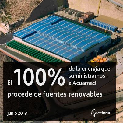 ACCIONA suministrara electricidad a Acuamed por tercer año consecutivo.