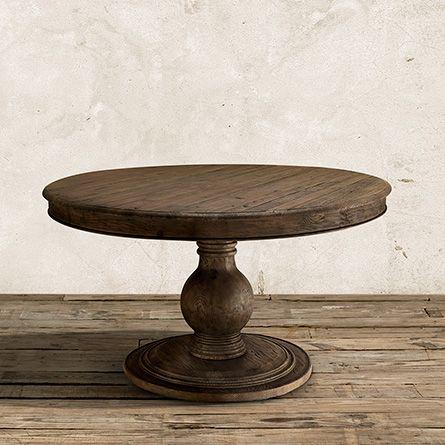 """Lara 54"""" Round Pedestal Dining Table in Brown"""