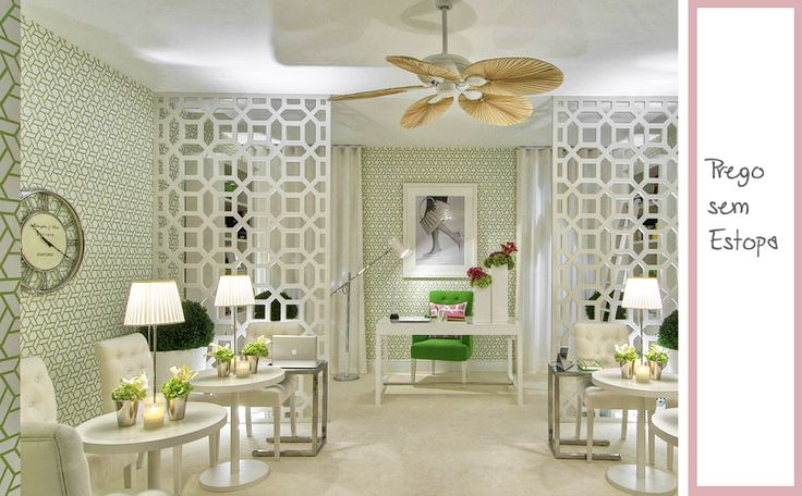 This interior is actually a nail salon however it had so many gorgeous elements that you could incorporate into your home I had to pin it.