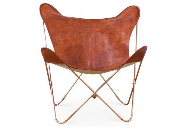 Palermo Butterfly Chair, Cognac Leather and copper