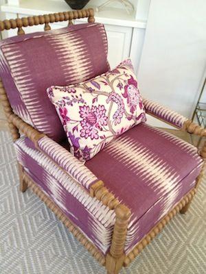 Peter Dunham Ikat wood spindle chair, floral pillow, pattern mix