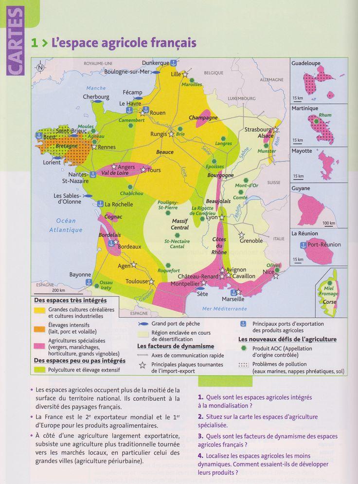 TBacPro-G3 : L'espace agricole français. (Source : votre manuel Hachette technique)