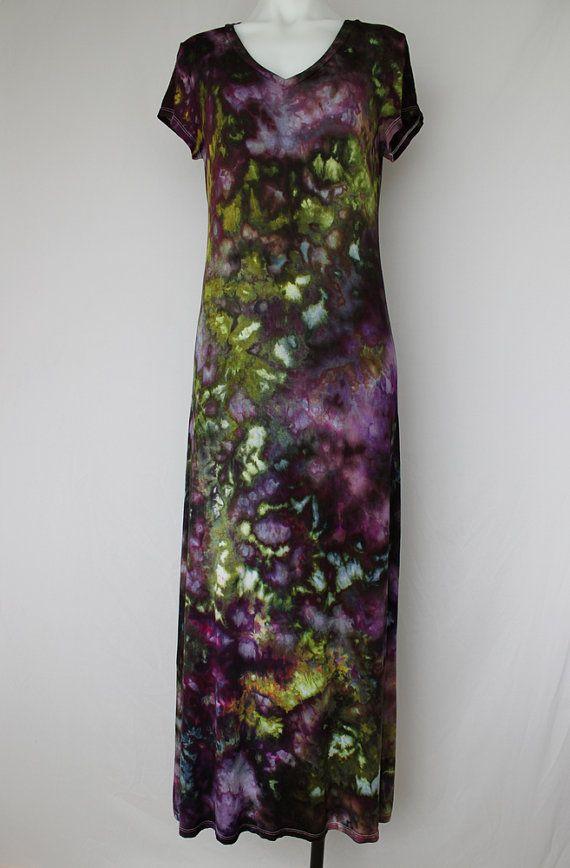 Maxi jurk ijs geverfd Boho tie dye jurk  Size door ASPOONFULOFCOLORS